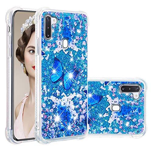 Misstars Glitzer Flüssig Hülle für Samsung Galaxy A11/M11, Bling Sparkle Treibsand Handyhülle Transparent mit Muster Blau Schmetterling Design Weich TPU Silikon Stoßfest Schutzhülle