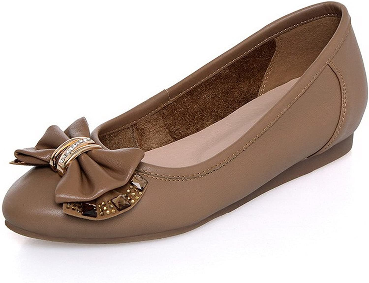 Allhqmode Woherrar Round Closed Toe Cow läder No Heel Solid Solid Solid Flats with Bowknot and Metal Letter  onlinebutik