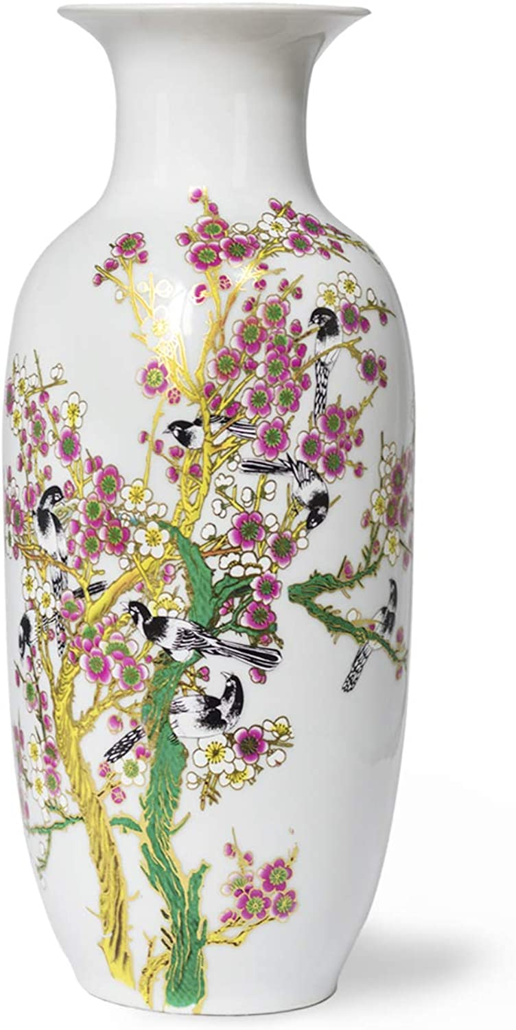 Dahlia Bird on Peach Blossom Famille pink Porcelain Tall Flower Vase, 15 Inches, Rouleau Vase