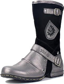 osstone Bottes de Cow-Boy Moto pour Hommes Mode Zipper-up Bottes Chukka en Cuir Chaussures décontractées OS-5008-1-H-Silver-R