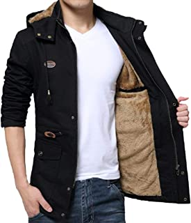 XINHEO Mens Plus-Size Tactical Quilted Overcoat with Chin Guard