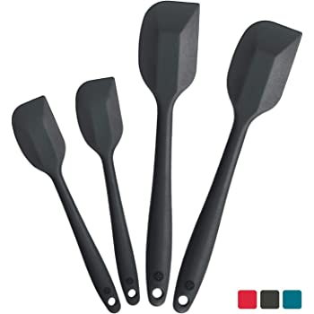 StarPack Premium Silicone Spatula Set (2 Small, 2 Large) - High Heat Resistant to 600°F, Hygienic One Piece Design, Non Stick Rubber Cooking Utensil Set (Gray Black)