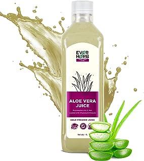 EverHerb 100% Organic Aloe Vera Juice with Pulp | Rejuvenates Skin and Hair | Zero Added Sugar - 1000 mL Brand: EVER HERB