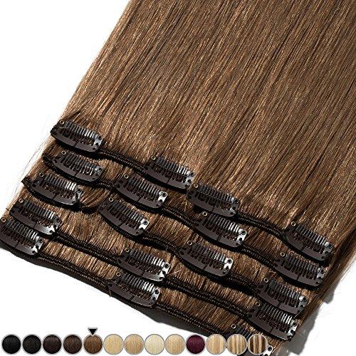 Extension Capelli Veri Clip 8 Fasce Remy Human Hair Full Head XL Set Lisci Lunga 8 pollici 20cm Pesa 65grammi, 6 Castano