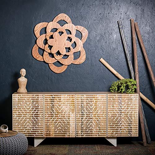 Native Home Buffet Bois, Buffet Oriental, Bahut Sideboard Commode Bois manguier, Portes HxlxP: 75 x 177 x 45 cm, Marron
