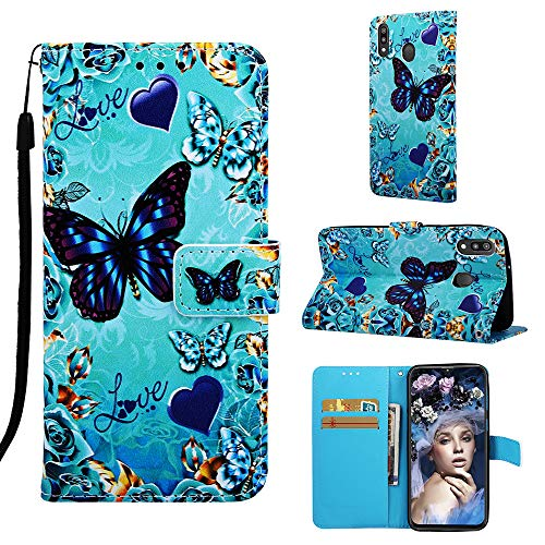 Handyhülle für Samsung Galaxy M20 Hülle, Premium Leder Flip Schutzhülle für Samsung Galaxy M20 Tasche (QW120)