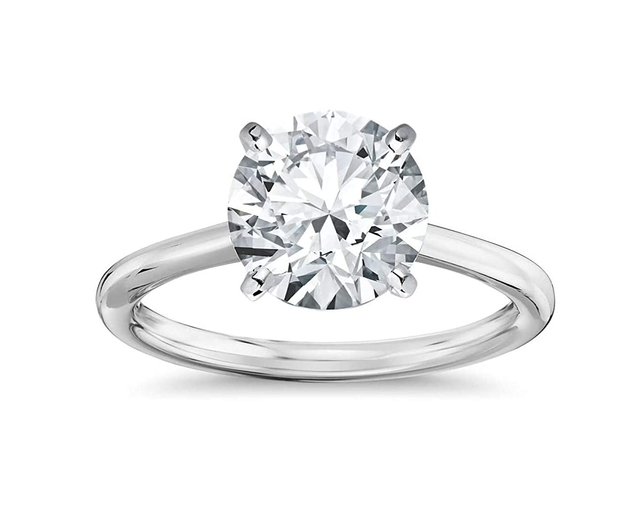 14K Solid Gold 2.0 Carat Solitaire CZ Engagement Ring