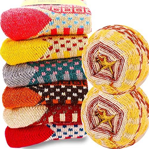 VoJoPi 6 Pares Calcetines Termicos de Mujer, Calcetines Invierno de Lana Frio Extremo, Calcetines Colores Cálidos de Confort Casual, Talla única 35-40