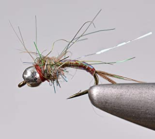 Region Fishing Tungsten Bead Rainbow Warrior Midge Nymph Fly | 12 Flies | Mustad Signature Hooks