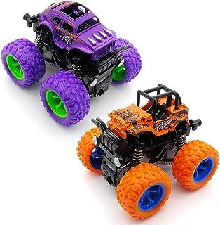 Monster Trucks for Boys, Monster Truck Toys, Friction Powered Pullback Cars for Girls, Baby, Kids, Toddler, 3, 4, 5 Year Old Boys, Boys Age 4-7 (2 Packs, Orange and Purple)