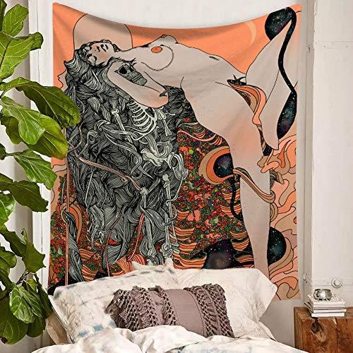 KHKJ Tapiz de Acuarela Banshee para Colgar en la Pared, sección Fina de poliéster, Pintura nórdica para Dormitorio de niña, Toalla de Playa, Esterilla de Yoga A2 200x150cm