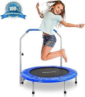 SereneLife Portable & Foldable Trampoline - 36 In-Home Mini Rebounder, Fitness Body Exercise - Updated Version - SLSPT365