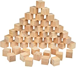 BUYGOO 50Pcs Wood Square Blocks, 1.5inch Blank Wooden Cubes Natural Solid Cube Wood Blocks for Puzzle Making, Crafts, and ...