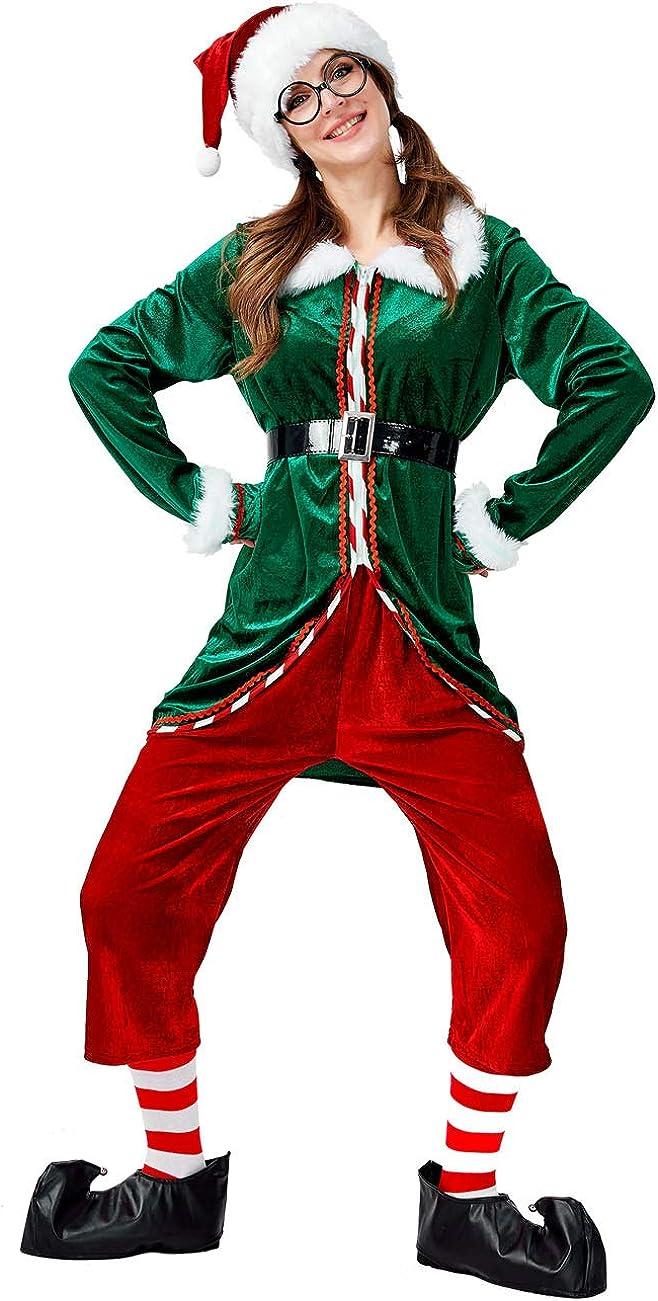 Men/'s Elf Costume Santas Helper Christmas Xmas Fancy Dress One Size