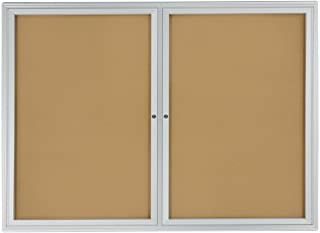 Displays2go 48 x 36 Inches Enclosed Bulletin Board for Wall Mount with 2 Locking Swing-Open Doors (BBSWNG43SV)