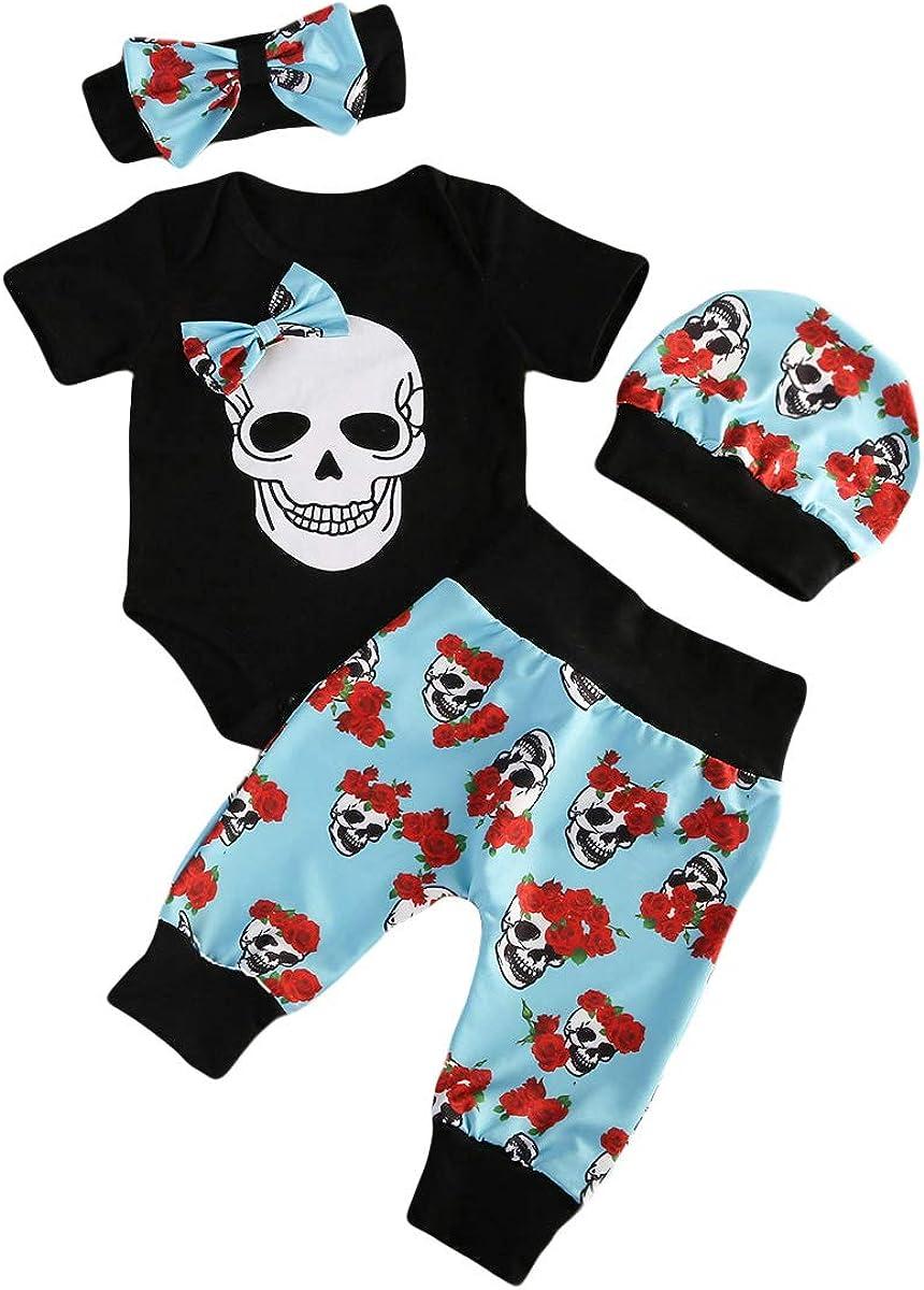 4PCS Infant Newborn Baby Boys Girl Skull Romper+Pants+Hat+Mitten or Headband Halloween Clothes Outfit Set
