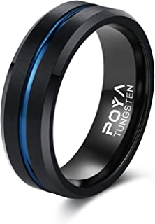 POYA Men's 8mm Black Tungsten Carbide Ring Blue Plated Groove Matte Finish Wedding Band Size 6 to 15
