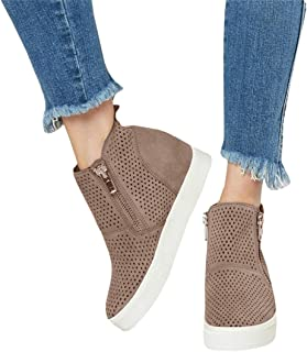 LAICIGO Women's Platform Sneakers Hidden Wedges Side Zipper Faux Suede Perforated Ankle Booties