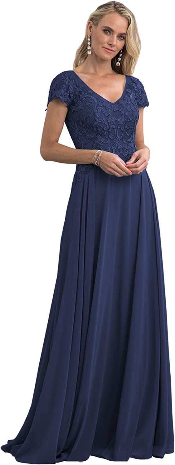 Women's V-Neck Lace Applique Mother of The Bride Dress with Sleeves Long Formal Evening Gown