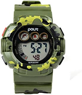 POLIT Kids Water Resistant Camo Electronic Wrist Watch Digital Outdoor Sport Watch - Green