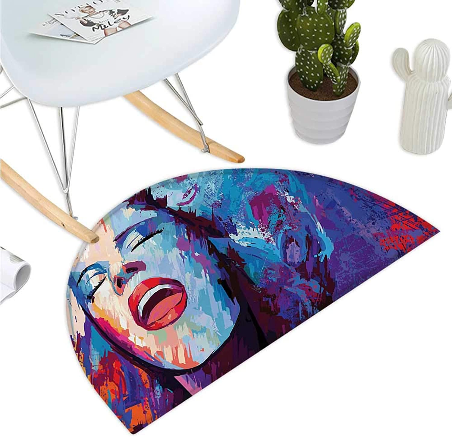 Jazz Music Semicircle Doormat Illustration of Singer on Grunge Background Performing Singing Woman Image Halfmoon doormats H 35.4  xD 53.1  bluee Purple Red