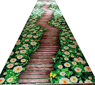 Modern Style Non Skid Area Rug Entry Rugs 3D Daisy Flowers Path Print Cutable Indoor Area Rug