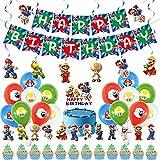 Miotlsy Super Mario Party Supplies Globos de Mario Feliz Cumpleaños del Pancarta Adorno de Torta para Niños Ducha de Bebé Fiesta de Cumpleaños