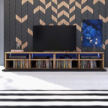 Selsey PHIRIS Double - Meuble TV/Banc TV (2x100 cm, chêne wotan/Noir Brillant, éclairage LED)