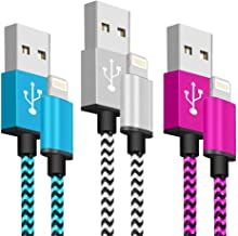 SyncTech Phone Charger Fast Charging Cable 6FT 3 Pack Nylon Braided High Speed Charging Cord USB Compatible with Phone XS MAX XR X 8 8 Plus 7 7 Plus 6s 6s Plus 6 6 Plus (3.) Blue, White, Pink