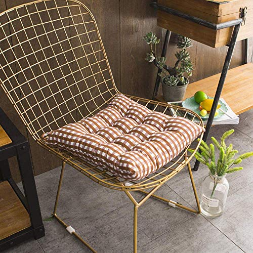 WENYAO Chair Pads Seat Cushions A Set of 4 Car Tatami Thickened Square Cushion Coffee Grid 40 * 40Cm for Kitchen Dining Garden Chair Cushion Seat Pads