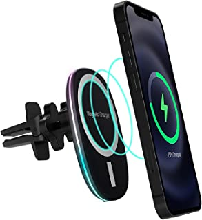 Magnetic Wireless Car Charger Vent Mount for Mag-Safe iPhone 12/12 Pro/Mini/Pro Max Magnet Car Charger 15W Mag Safe Phone Holder Stand Wireless Charging Air Vent Mount Charger