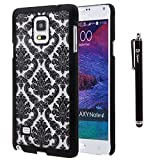 Galaxy Note 4 Case, Style4U Galaxy Note 4 [Black] Flower Damask Design Slim Fit Case Cover for Samsung Galaxy Note 4 with 1 Stylus and 1 HD Clear Screen Protector [Black]