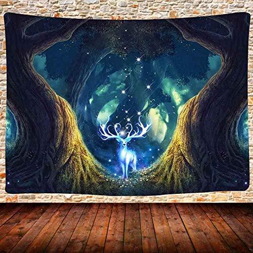 DGSJH Tapiz de paisaje de bosque Cuento de hadas Bosque encantado Ciervo blanco Tapiz Arte de la pared Decoración Colgante de pared para dormitorio Sala de estar Cubierta de cama 150x200cm