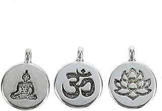 Monrocco 30 Pack Silver Yoga Charms Set Ohm Om Charm Lotus Flower Charms Meditating Buddha Charms Lots for Bracelets Jewelry Making