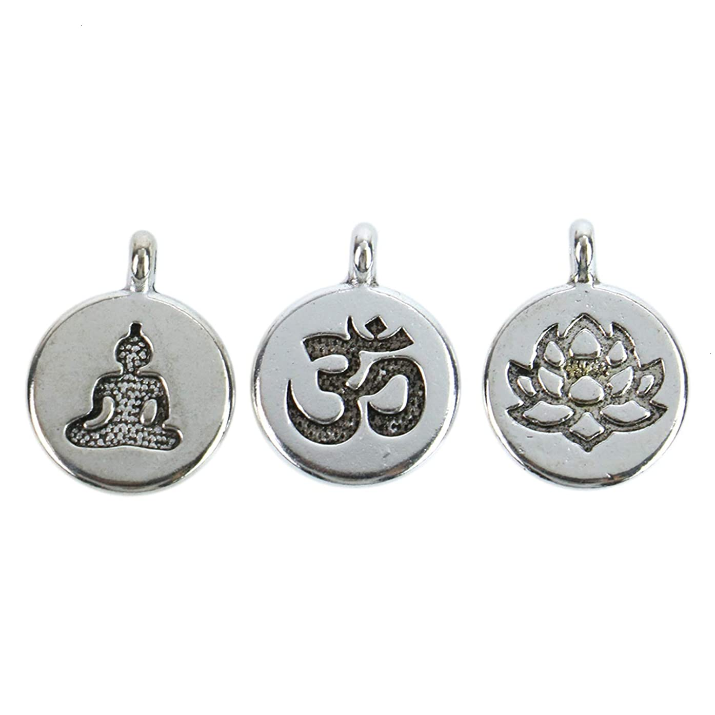 Monrocco 30 Pack Silver Yoga Charms Set Ohm Om Charm Lotus Flower Charms Meditating Buddha Charms Lots for Bracelets Jewelry Making
