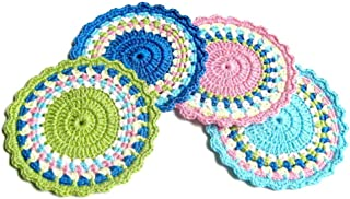 Set 4 posavasos de colores de ganchillo en algodón - Tamaño: ø 10 cm - Handmade - ITALY