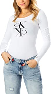 Calvin Klein Women's MIRRORED MONOGRAM BODY L/S T-Shirt, White, X-Small