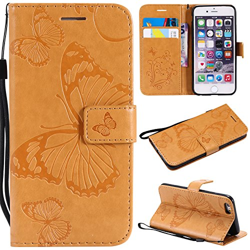 Amocase Wallet Leather Case with 2 in 1 Stylus for iPhone 6,Premium Strap 3D Butterfly Magnetic PU Leather Stand Shockproof Card Slot Case for iPhone 6/6S - Yellow