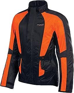 Olympia New Horizon Rain Mens Waterproof Exteriors and Rain Gear On-Road Racing Motorcycle Jacket - Black/Neon Orange/Petite
