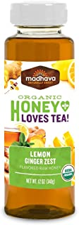 Madhava Natural Sweeteners Organic Honey for Tea, Lemon Ginger Zest, 6 Count - PACKAGING MAY VARY
