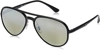 RB4320CH Chromance Mirrored Aviator Sunglasses, Matte Black/Polarized Silver Mirror, 58 mm