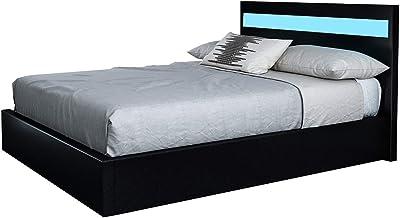 Black PU Leather Gas Lift Storage Bed Frame Wood Bedroom Furniture w/LED Light King
