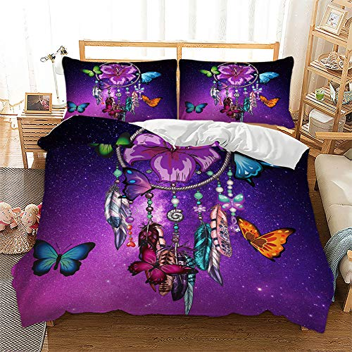 Dream Catcher Duvet Cover ,Galaxy Butterfly Bedding Set Feather Dream Catcher Comforter Cover with 2 Pillowcases for Girls and Women,Full