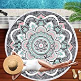 ZZYD Large & Thick Round Beach Towel Bohemian Mandala Round Blanket with Tassels Soft Absorbent Quick Dry Multipurpose Picnic Table Cloth Yoga Mat Blanket Hippy Boho Gypsy Wall Decor (59 inch)