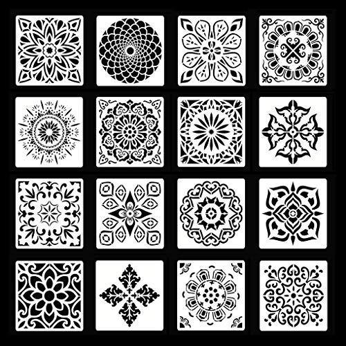 Rolin Roly 16 Schilderij Stencils Set Mandala Tekening Stencils voor DIY Muren Art Scrapbook Vloer Muur Tegel Stencils Hout Stencils Meubeldecoratie