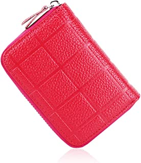 Women's Wallet Plaid Leather Card Holder Card Set Multi-Function Coin Purse PVC Inner Page Card Holder Vertical Document Package (Color : Rose red, Size : S)
