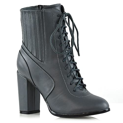 424080b1cd68 ESSEX GLAM Womens High Heel Ankle Boots Block Lace up Zip Ladies Biker  Winter Booties Shoes