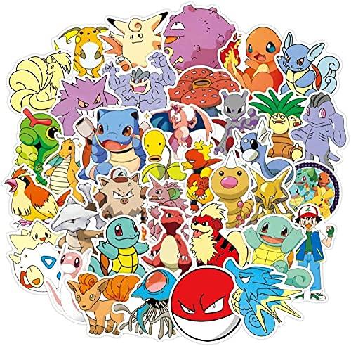 DINGQING 100 pièces Autocollants de Dessin animé Pokémon Non répétitifs imperméables et crème Solaire adaptés pour Ordinateur Portable Trolley Case Moto Ordinateur Skateboard Autocollants