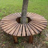 Outdoor Courtyard Terrace Park seat Solid Wood Fan-Shaped Bench, Circular Tree Garden Tree Bench, Weather-Resistant anticorrosive Solid Wood Bench Backless Bench for terraces,Balconies Curved