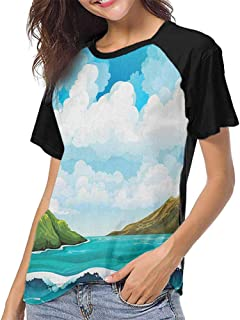 Sea,Ladies Baseball Tee S-XXL(This is for Size Extra Large) Seascape with Waves Islands and Cloudy Blue Sky Tranquil Exotic Shores Cartoon S,Raglan Short Sleeve Shirts